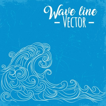 waves background curved lines sketch retro design