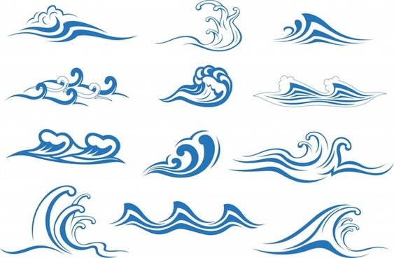 waves icons classical blue sketch dynamic curves design