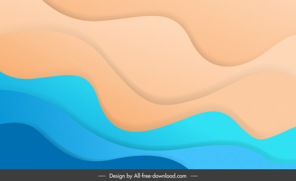 waving background template bright colorful curves sketch