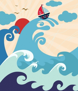 waving sea drawing big waves boat icons decor