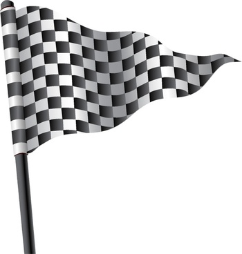 Waving triangular checkered flag