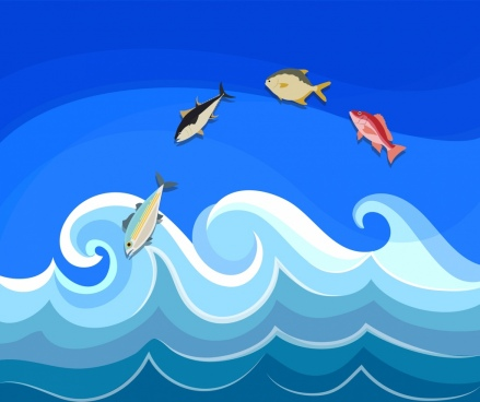 wavy beach background fishes icons curves design