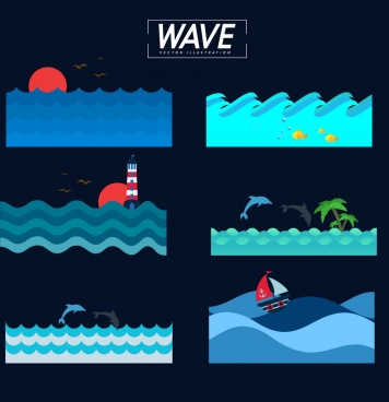 wavy beach background sets dark colored blue design