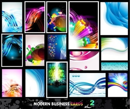 wavy colorful business card vectors set