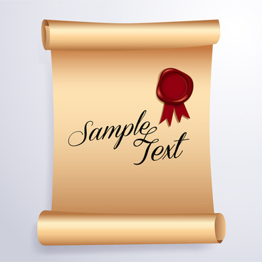 wax seal with curled paper background vector
