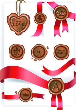 wax seals with love postcard vector graphics