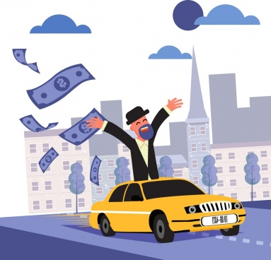 wealth background man car flying money icons