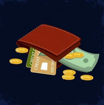 wealth concept background wallet credit card money icons