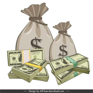wealth design element money cash bags sketch