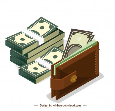 wealth design elements cash wallet sketch 3d design