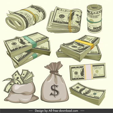 wealth design elements money sketch 3d classic