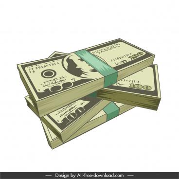 wealth icon dollar cash stack 3d sketch