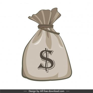 wealth icon money bag sketch classic design