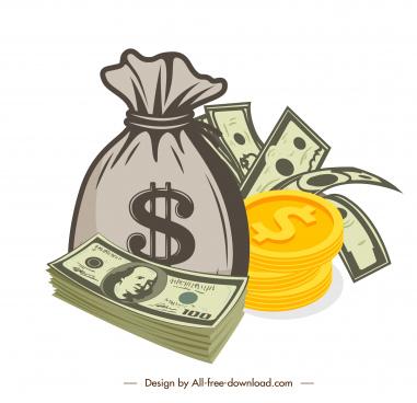 wealthy design elements cash coin sketch