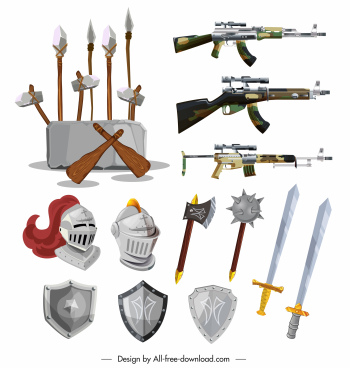 weapon icons ancient medieval contemporary ages sketch