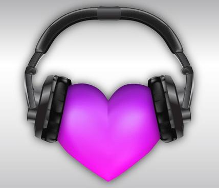 wear headset purple love vector