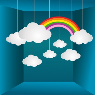 weather background 3d layout colorful rainbow cloud icons