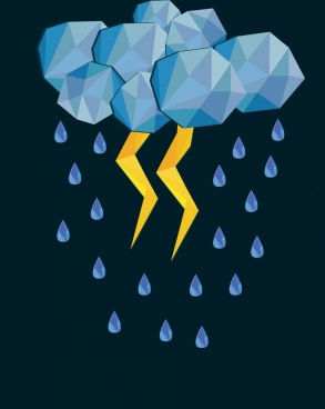 weather background cloud rain thunder icons polygonal decoration