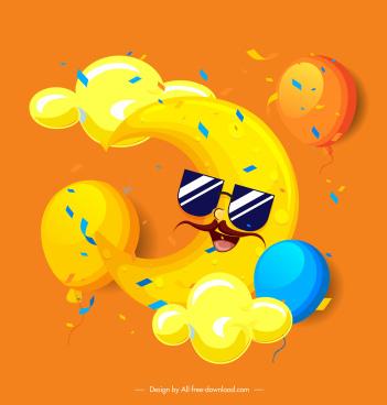 weather background funny stylized moon balloon decor