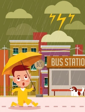 weather background kid umbrella rain icons cartoon design