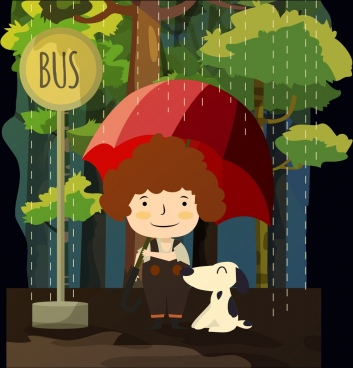 weather background rain kid umbrella dog icons