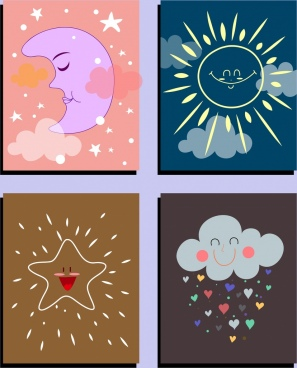 weather background sets moon solar star cloud icons
