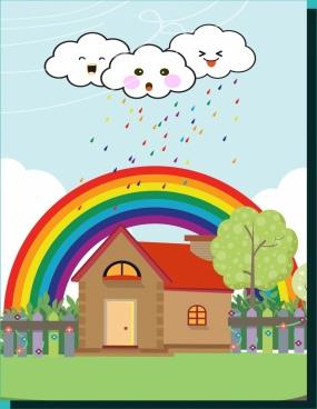 weather background stylized cloud colorful rainbow decoration