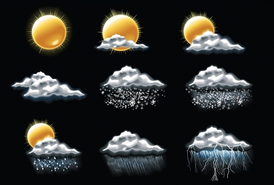 weather clouds lightning moon vector snowflake icon raindrop