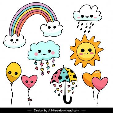 weather decor elements colorful flat cute stylized handdrawn symbols