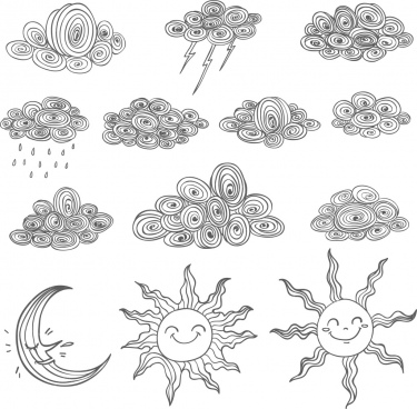 weather design elements black white handdrawn sketch