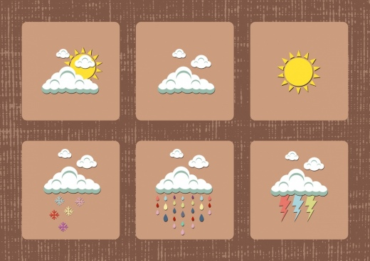 weather design elements cloud sun rain lighting icons