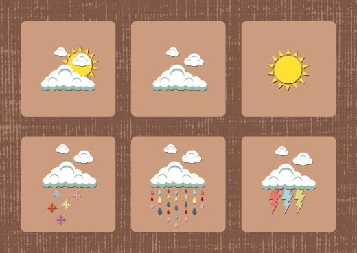 weather design elements cloud sun rain lighting icons