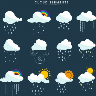 weather design elements clouds sun rain snow icons
