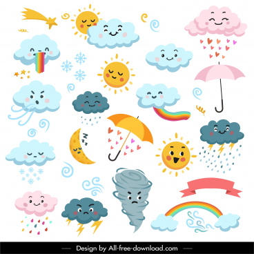 weather design elements cute stylized sketch