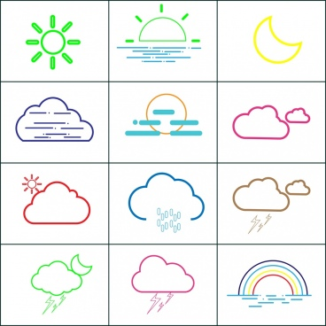 weather design elements outline various colored symbols decoration