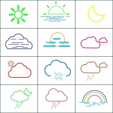 weather design elements outline various colored symbols decoration