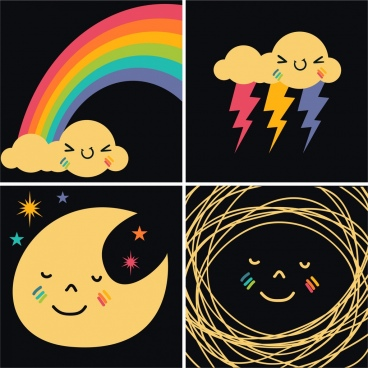 weather design elements rainbow cloud moon lightning icons