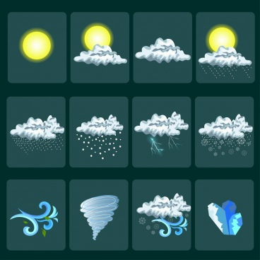 weather design elements shiny colored decor squares isolation