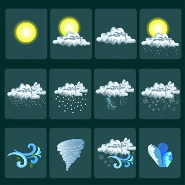 weather design elements shiny colored decor squares isolation