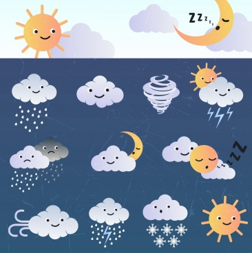 weather design elements stylized cloud sun moon icons
