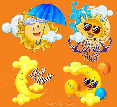 weather design elements stylized moon sun icons