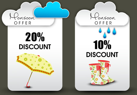 weather discount label creative design vector
