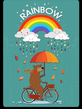 weather drawing stylized bear cloud rainbow rain icons