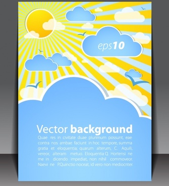 brochure cover template sky elements decor bright colorful