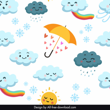 weather elements pattern bright colorful stylized design