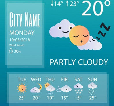 weather forecast background cute stylized icons decor