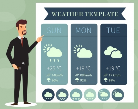 weather forecast background male reporter icon colored cartoon