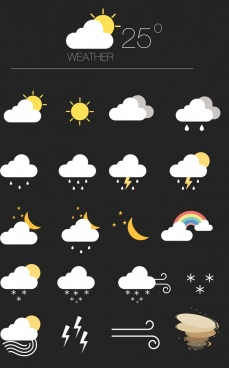 weather forecast design elements classical colored flat icons