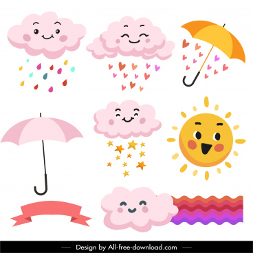 weather forecast design elements cute stylized sketch