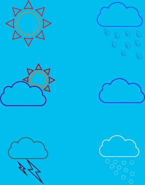 weather forecast design elements various hand drawn sketches
